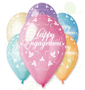 "Happy Engagement Balloons in Assorted Colours 12"" (25 Pack)"