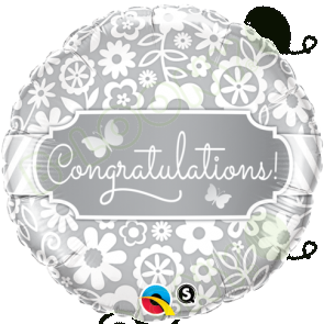 "Qualatex 18"" Foil Balloon Congratulations Butterflies (White & Silver)"