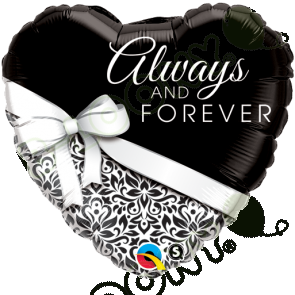 "Qualatex 18"" Foil Balloon Always and Forever (Black and White)"