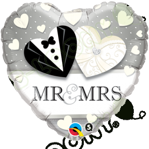 "Qualatex 18"" Foil Balloon Mr & Mrs (Black, Silver & White)"