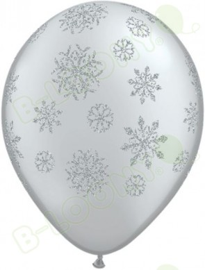 "11"" Glitter Snowflakes Balloons Silver Bag 25"