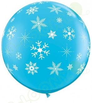 Giant Robins Egg Blue Snowflakes & Sparkles Balloons