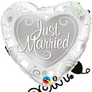 "Qualatex 18"" Foil Balloon Just Married Hearts (Silver)"