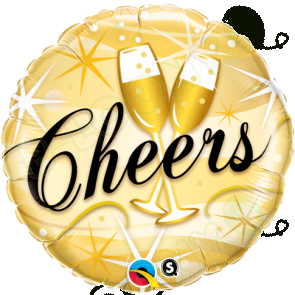 "Qualatex 18"" Foil Balloon Cheers Starbursts Champagne Glasses"