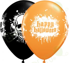 11 Inch Latex Balloons Halloween Haunted Skull Black and Orange