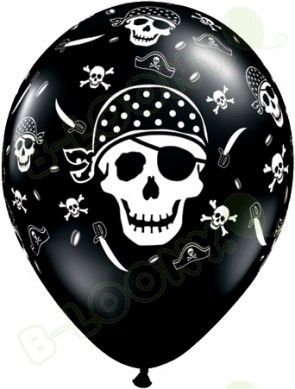 11 Inch Latex Balloons Pirate Skull & Cross Bones Black