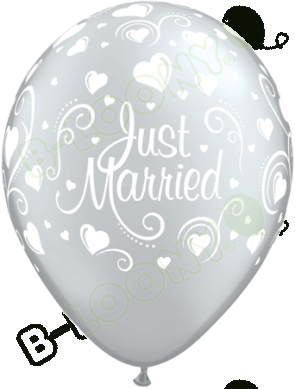 "Qualatex 11"" Latex Balloons Just Married Hearts - Silver (Pack of 25)"