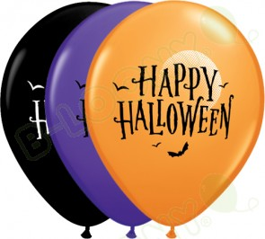 11 Inch Latex Balloons Halloween Moon & Bats