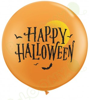 36 Inch Latex Balloons Halloween Moon & Bats