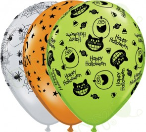 11 Latex Balloons Halloween Assorted
