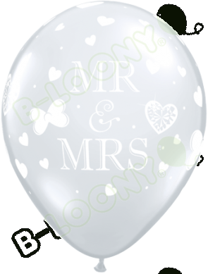 "Qualatex 11"" Latex Balloons Mr & Mrs - Diamond Clear (Pack of 50)"