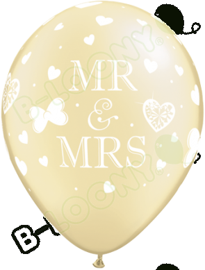 "Qualatex 11"" Latex Balloons Mr & Mrs - Pearl Ivory (Pack of 25)"