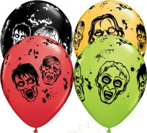 11 Inch Latex Balloons Zombies Assorted Colours