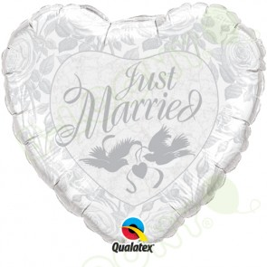 "Qualatex 18"" Foil Balloon Just Married (Pearl White & Silver)"