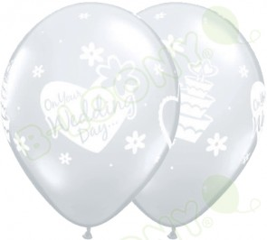 "Qualatex 11"" Latex Balloon On Your Wedding Day - Diamond Clear (Pack of 25)"
