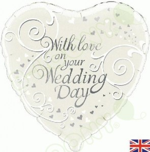 "Oaktree 18"" Foil Balloon With Love On Your Wedding Day"