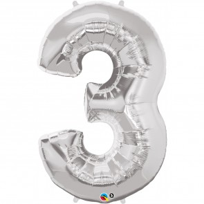Giant Number 3 Foil Balloon Silver
