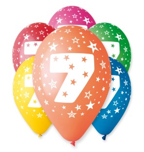 "Number 7 Birthday Balloons in Assorted Colours 12"" (25 Pack)"