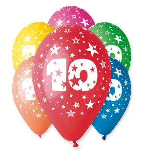 "Number 10 Birthday Balloons in Assorted Colours 12"" (25 Pack)"