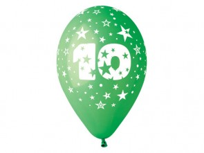 Number 10 Birthday Balloons in Assorted Colours 12