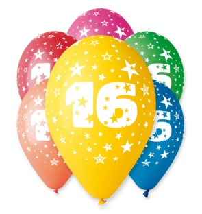 "Number 16 Birthday Balloons in Assorted Colours 12"" (25 Pack)"