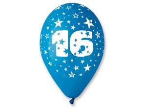 Number 16 Birthday Balloons in Assorted Colours 12