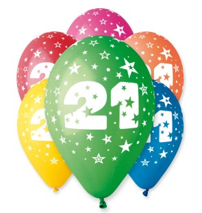 "Number 21 Birthday Balloons in Assorted Colours 12"" (25 Pack)"