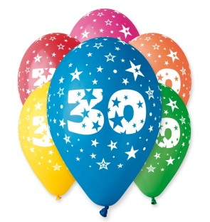 "Number 30 Birthday Balloons in Assorted Colours 12"" (25 Pack)"
