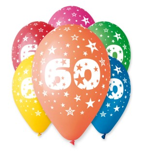 "Number 60 Birthday Balloons in Assorted Colours 12"" (25 Pack)"