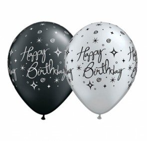 "11"" Elegant Sparkles Happy Birthday Balloons in Silver & Black"
