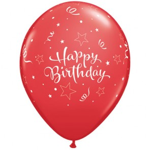 "11"" Shining Star Latex Birthday Balloons in Red (Pack of 25)"