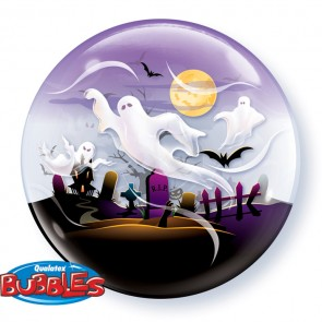 22 Single Bubble Balloon Spooky Ghosts - Front