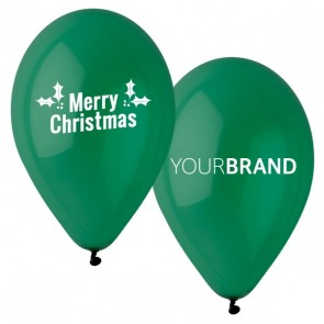 Merry Christmas Printed Latex Balloons Green