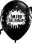 11 Inch Latex Balloons Halloween Haunted Skull Black Front