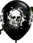 11 Inch Latex Balloons Halloween Haunted Skull Black Back