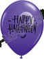 11 Inch Latex Balloons Halloween Moon & Bats Purple