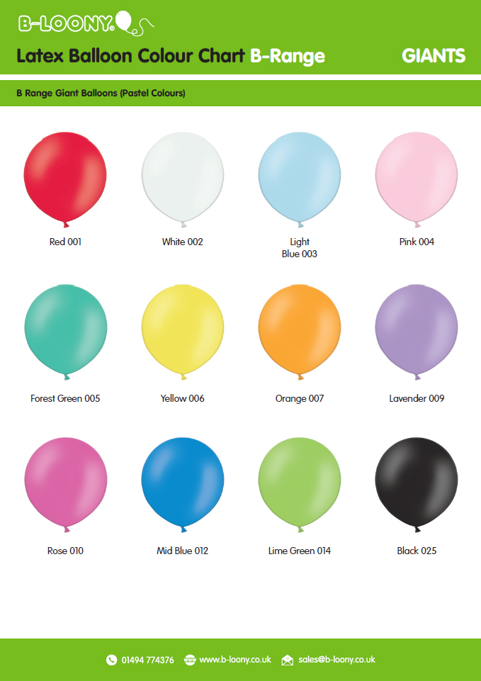 B Range Giant Latex Balloon Colour Chart