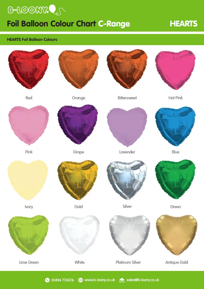 C Range Heart Foil Balloons