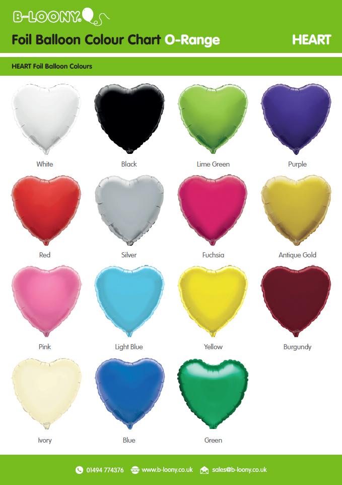 O Range Heart Foil Balloons