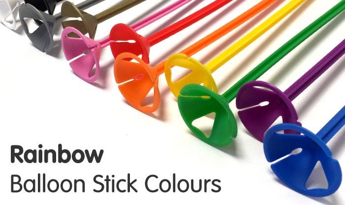 Pride Coloured Balloon Sticks